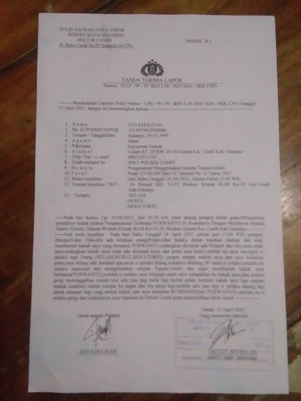 Diduga Ancam Wartawan, 3 Warga di Sidoarjo di Polisikan